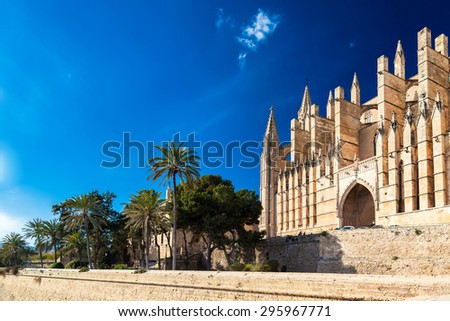 gothic-styled Palma Cathedral La Seu, Palma de Mallorca, Spain - stock photo