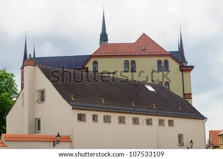 Gothic to 19th-century Romanesque buildings in Wismar, Germany, a UNESCO World Heritage Site, - stock photo