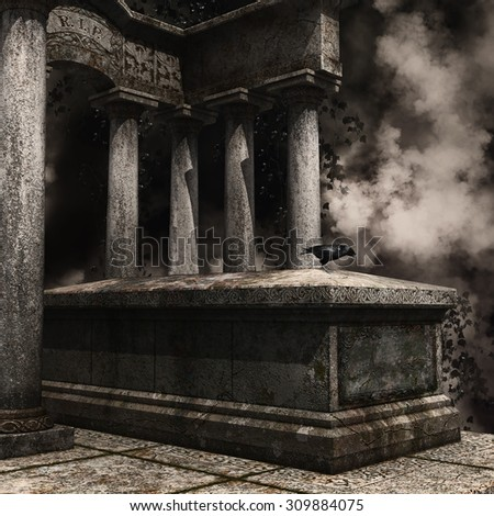 Gothic tombstone with a raven and ivy at a foggy cemetery - stock photo