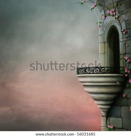 Gothic tower and the beautiful roses - stock photo