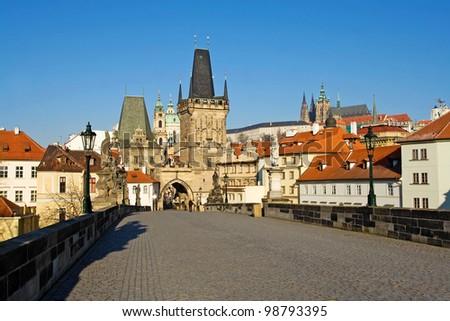 Gothic tower with bridge - stock photo