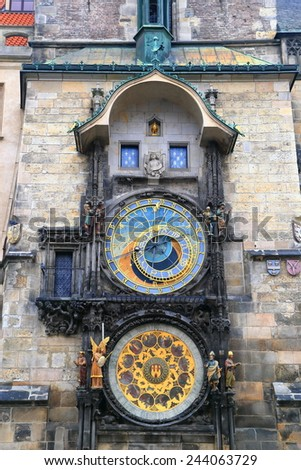 Gothic tower with large dials of the Astronomical Clock in Prague Old Town, Czech Republic - stock photo
