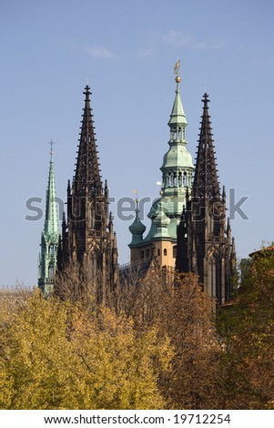 Gothic towers of the famous cathedral of St. Vitus in Prague.