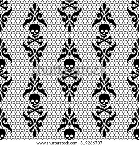Gothic Vintage Seamless Black Grid Lace For Your Decoration Can Be Used As A Wallpaper