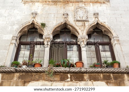 Gothic window  in Croatia - Porec - stock photo