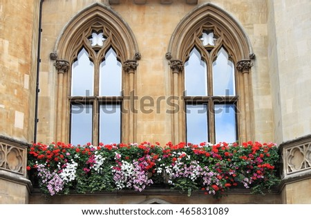 Gothic windows with decorations and flowers