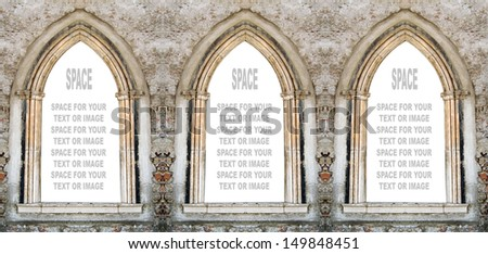 Gothic windows with space for your text.  - stock photo