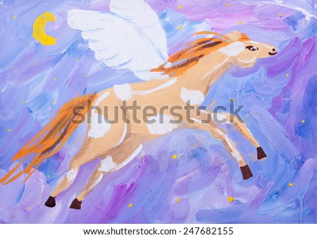 gouache child picture of flying horse