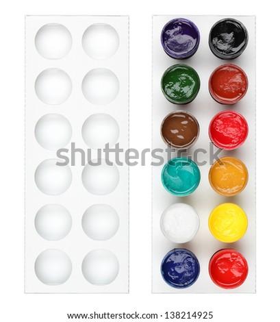 Gouache colour set isolated on white - stock photo