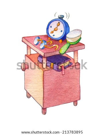 Gouache cute picture in style of bright book illustration isolated on white background. Obsolete bedroom nightstand on legs with calling alarm, round eyeglasses, hairbrush and hardcover with bookmark - stock photo