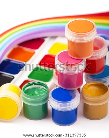 gouache of paint and brush on white background - stock photo