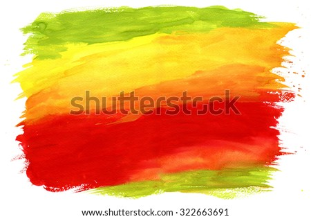 Gouache Painting Textured Background Red, Green and Yellow