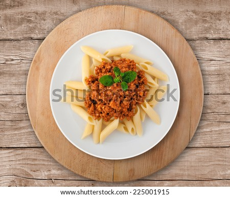Goulash soup with spaghetti. A Serbian traditional dish made from beef and pork. - stock photo