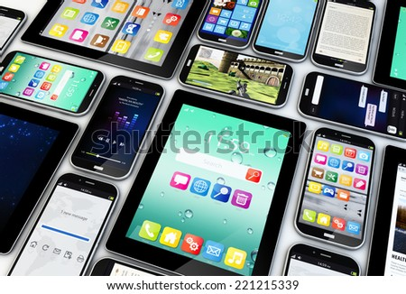 goup of mobile devices with apps and interfaces - stock photo