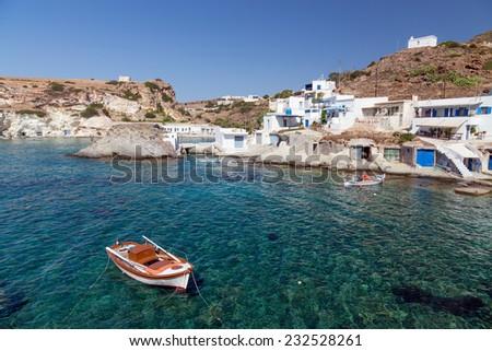 Goupa fishing village, Kimolos island, Cyclades, Greece - stock photo