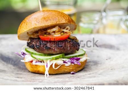 Gourmet beef burger - stock photo