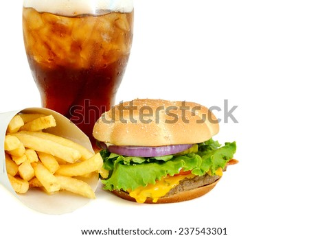 gourmet cheeseburger served meal served with french fries and soda