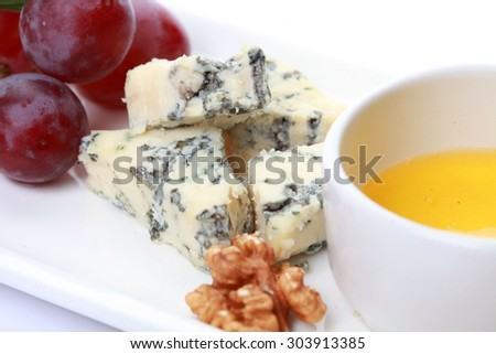 Gourmet cheeses with honey, food