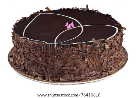 Gourmet Chocolate and Raspberry Cake Isolated on White - stock photo