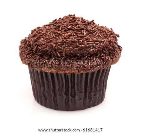 Gourmet chocolate butter cream cupcake with chocolate incing and sprinkles isolated on a white background.