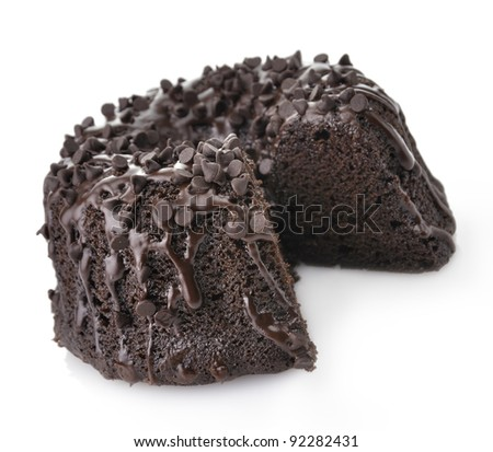 Gourmet Chocolate Cake with Chocolate Chips On White Background