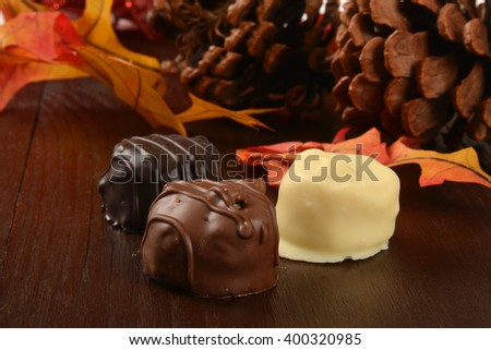 Gourmet chocolate candies on an autumn holiday setting