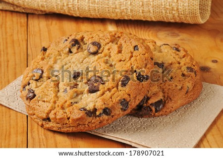 Gourmet chocolate chip cookies on unbleached napkins