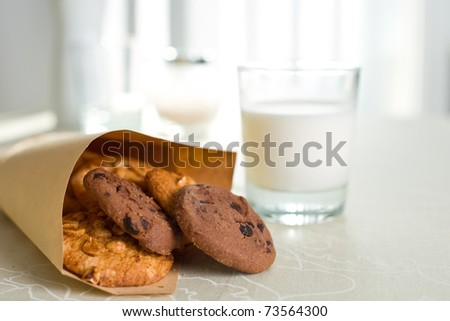 Gourmet chocolate chips  and milk - stock photo
