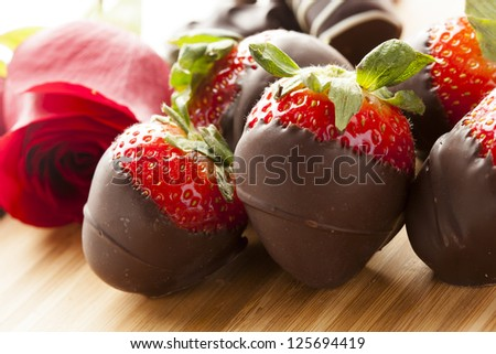Gourmet Chocolate Covered Strawberries for Valentine's Day - stock photo