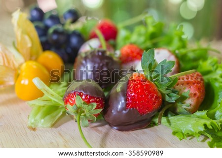 Gourmet Chocolate Covered Strawberries for Valentine's Day with  - stock photo