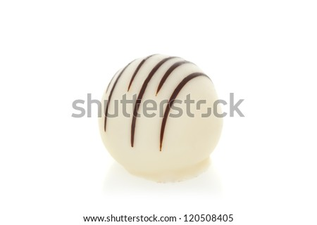 Gourmet chocolate truffles isolated on white background - stock photo