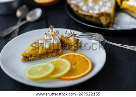 Gourmet citrus  tart - stock photo