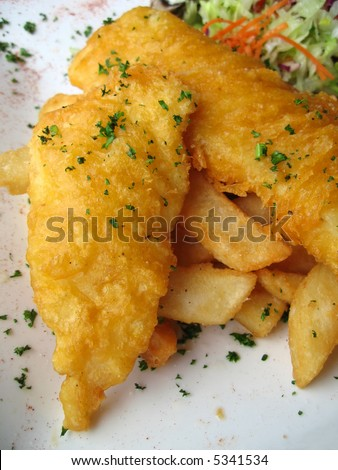 Gourmet fish and chips garnished with parsley flakes and served with side salad. - stock photo