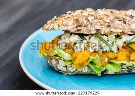 Gourmet food, sandwich with blue cheese and rosemary - stock photo