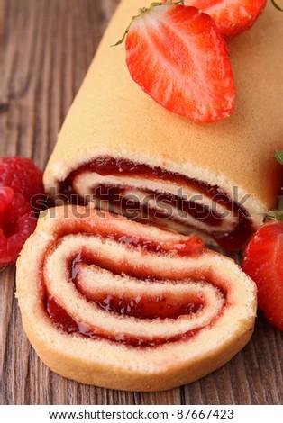 gourmet fruit swiss roll - stock photo