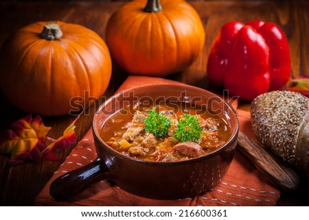 Gourmet hearty goulash soup  - traditional Hungarian cuisine - stock photo