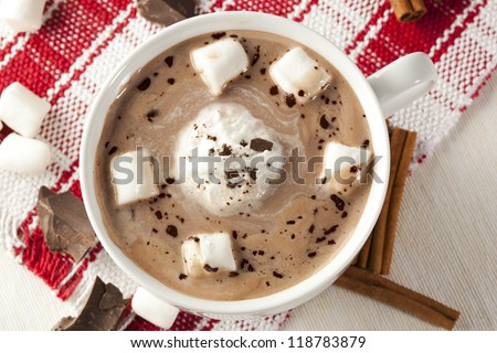 Gourmet Hot Chocolate with marshmallows and cinnamon - stock photo