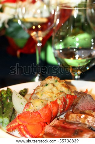 Gourmet lobster dinner at the fine restaurant - stock photo