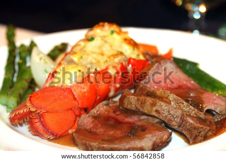 Gourmet lobster dinner at the restaurant - stock photo