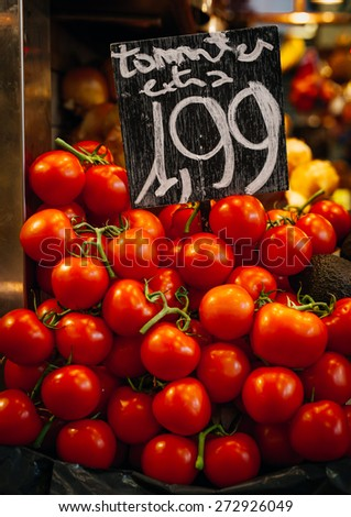 Gourmet Marketplace with tomatoes  - stock photo