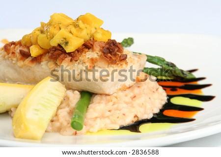 Gourmet meal, macadamia crusted mahi mahi with mango salsa on risotto. - stock photo