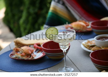 Gourmet Mexican dinner with the focus on the margarita - stock photo