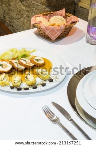 Gourmet Portuguese Food, Stuffed Chicken - stock photo