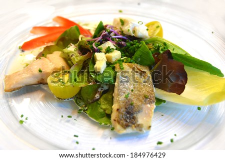 Gourmet served fresh prepared dish - stock photo