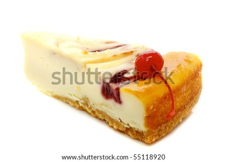 Gourmet slice of cheesecake on the white background