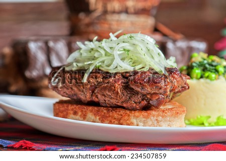 Gourmet steak meat with potato - stock photo