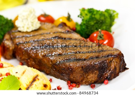 Gourmet Steak with Broccoli,Cherry Tomato - stock photo