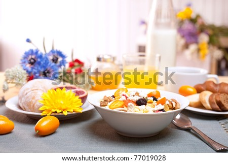 Gourmet summer breakfast - stock photo