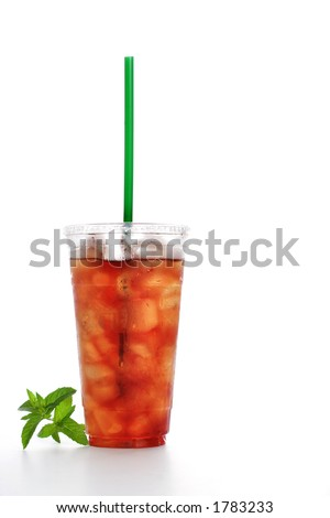 Gourmet to Go (a plastic cup of iced tea with a straw) - stock photo