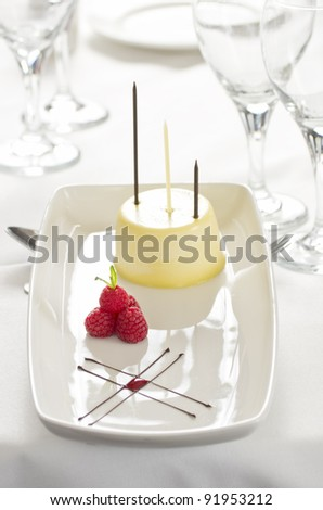 Gourmet vanilla dessert with raspberries and chocolate in high key image with focus on berries - stock photo